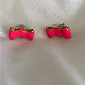 Kate Spade hot pink bow earrings